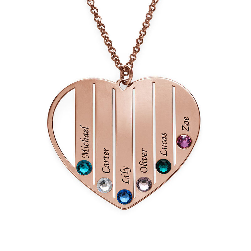 Mom Birthstone Necklace in Rose Gold Plating