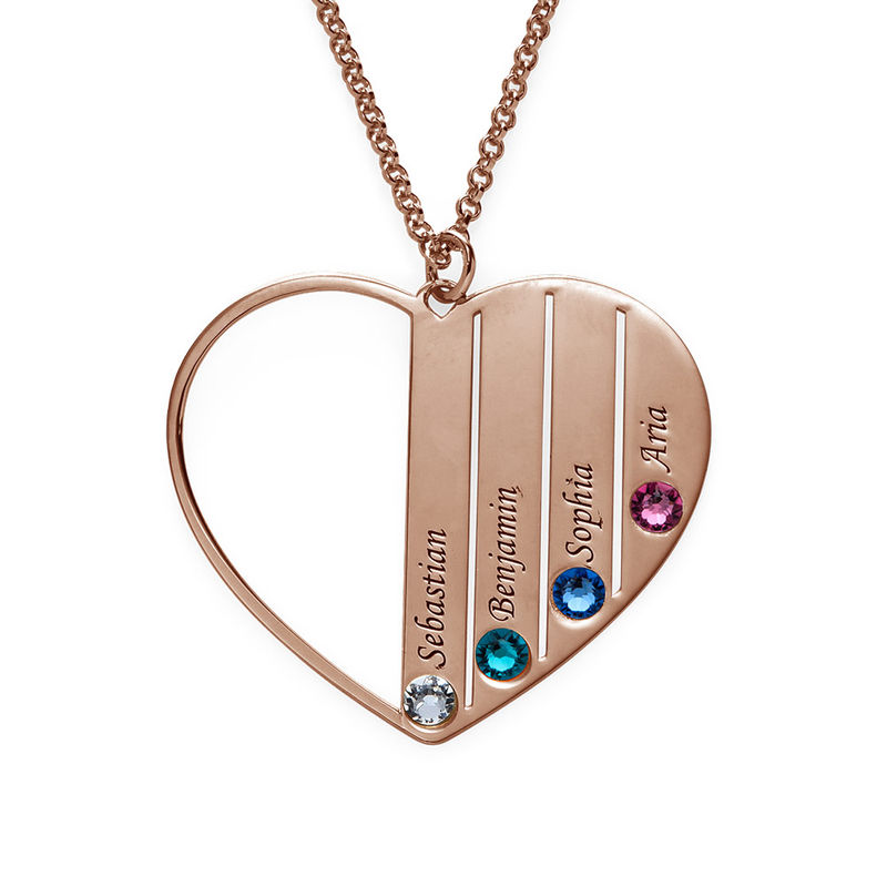 Mom Birthstone Necklace in Rose Gold Plating - 1