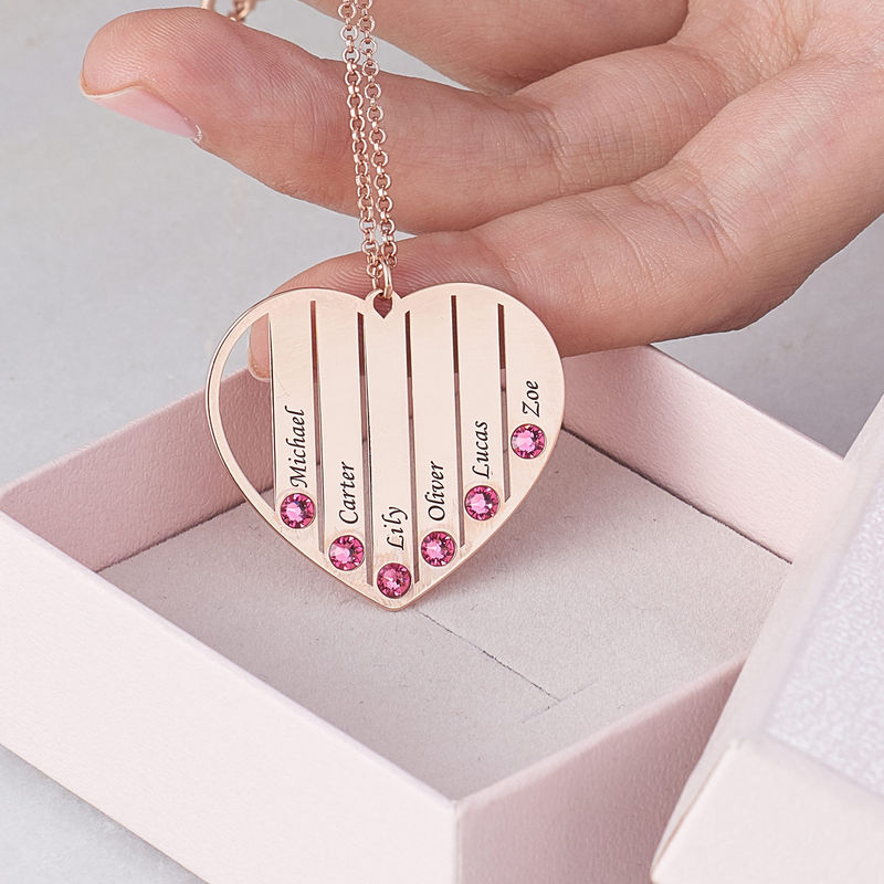 Mom Birthstone Necklace in Rose Gold Plating - 7
