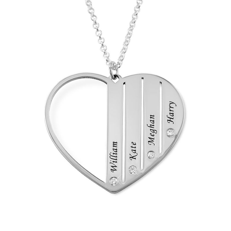 Mom Necklace in Silver with Diamonds