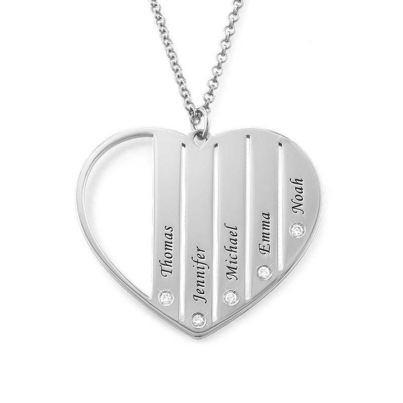 Mom Necklace in Silver with Diamonds - 1