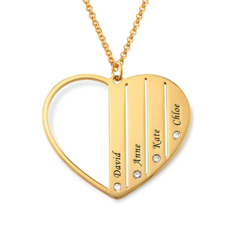 Mom Necklace in Gold Plating with Diamonds