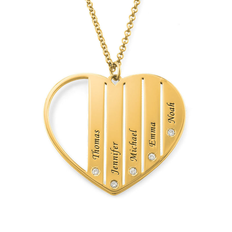 Mom Necklace in Gold Plating with Diamonds - 1