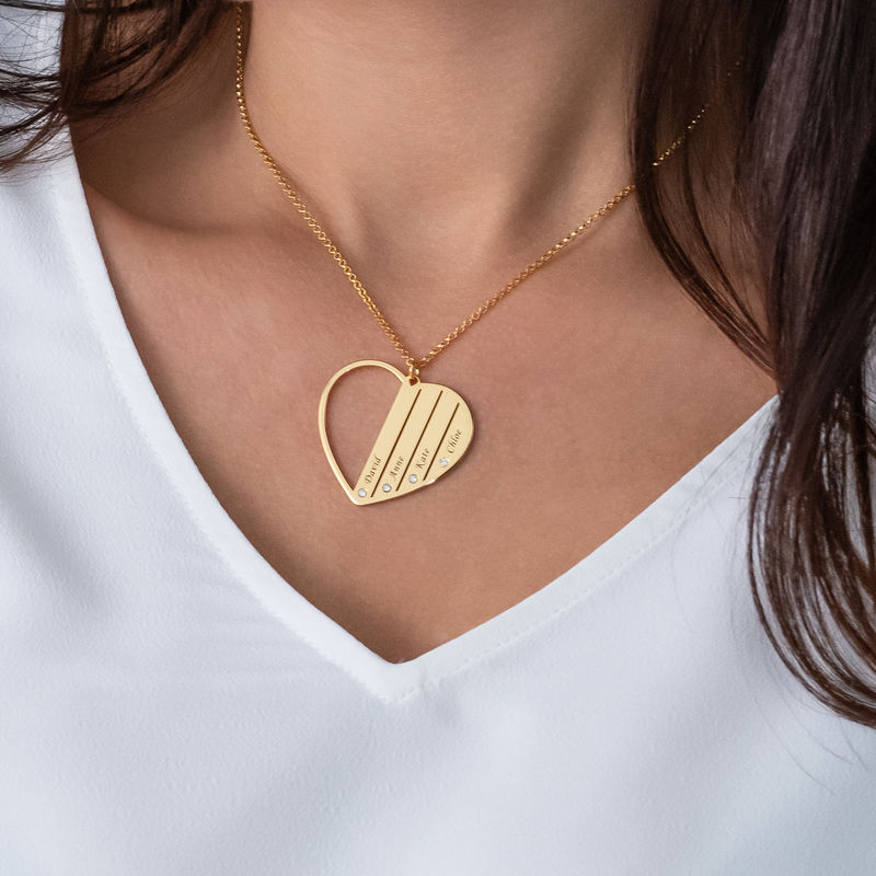 Mom Necklace in Gold Plating with Diamonds - 3