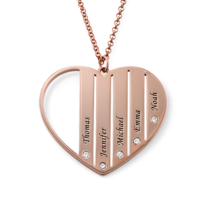 Mom Necklace in Rose Gold Plating with Diamonds