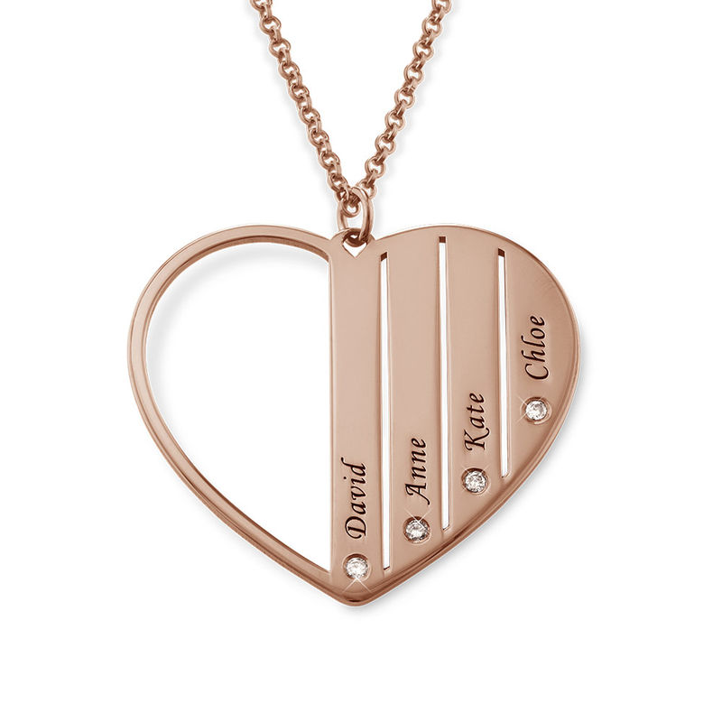 Mom Necklace in Rose Gold Plating with Diamonds - 1