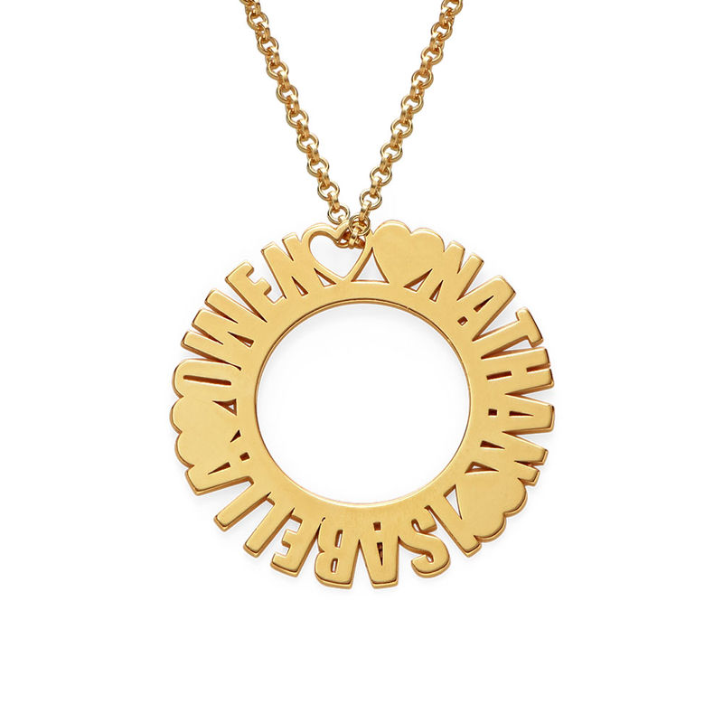 Circle Name Necklace in Gold Plating