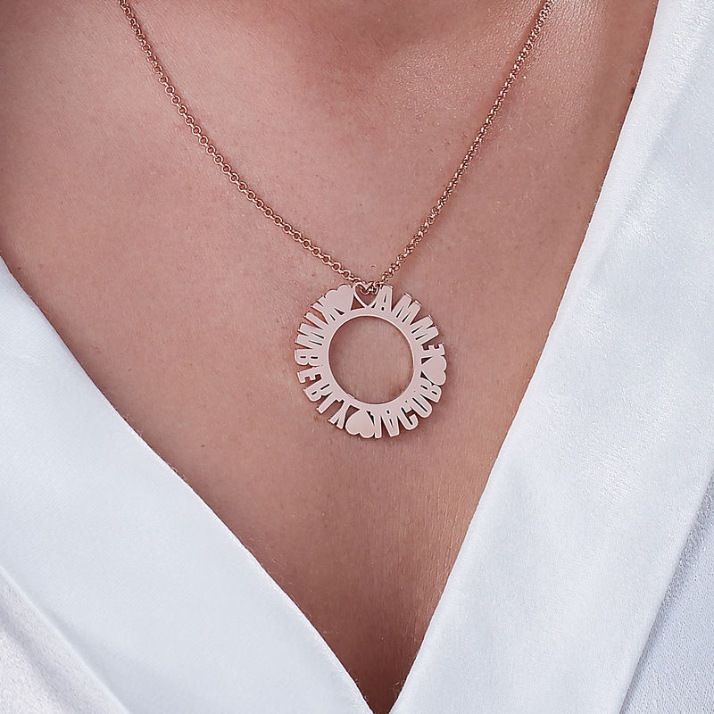 Circle Name Necklace in Rose Gold Plating - 2