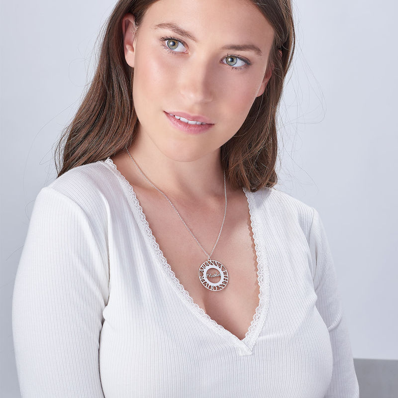 Mom Circle Necklace in Silver Sterling - 2