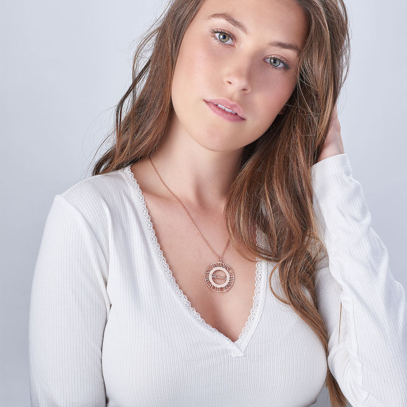 Mom Circle Necklace in Rose Gold Plating - 1
