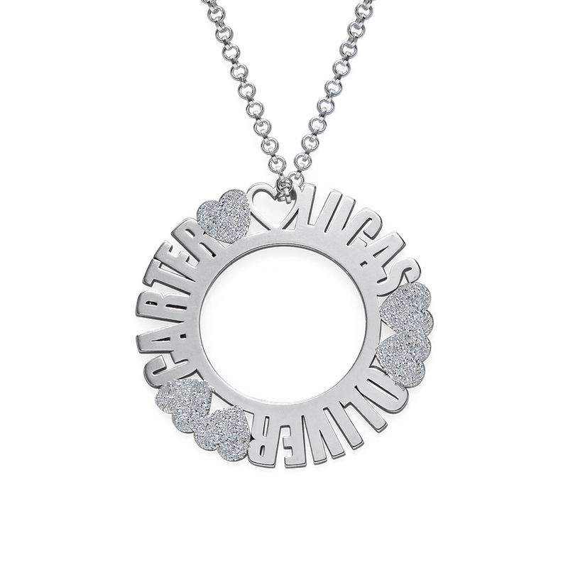 Circle Name Necklace in Silver Sterling with Diamond Effect