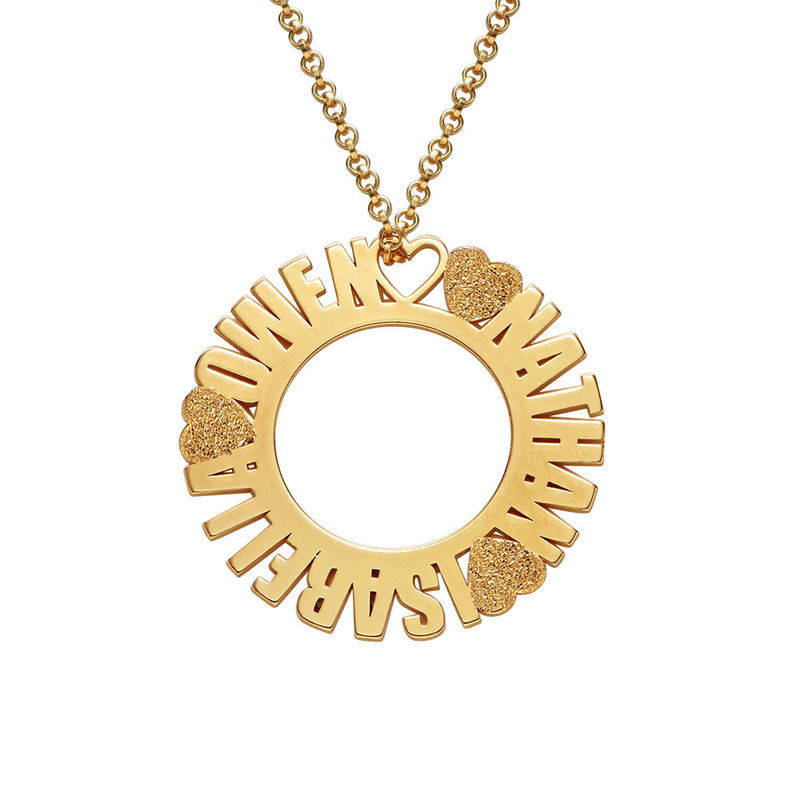 Circle Name Necklace in Gold Plating with Diamond Effect