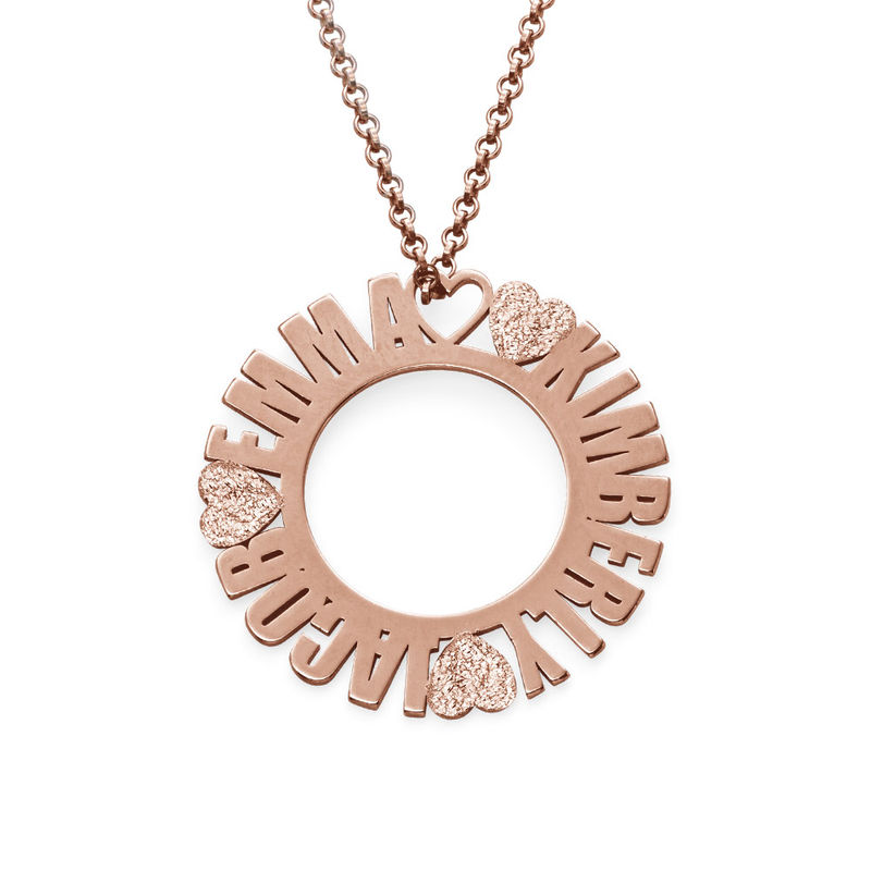 Circle Name Necklace in Rose Gold Plating with Diamond Effect