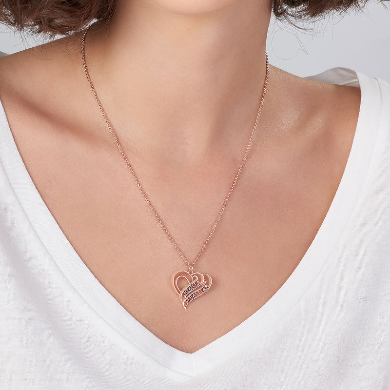 Personalized 3D Heart Necklace with 18K Rose Gold Plating - 3