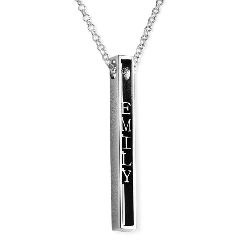 Personalized 3D Bar Necklace in Sterling Silver
