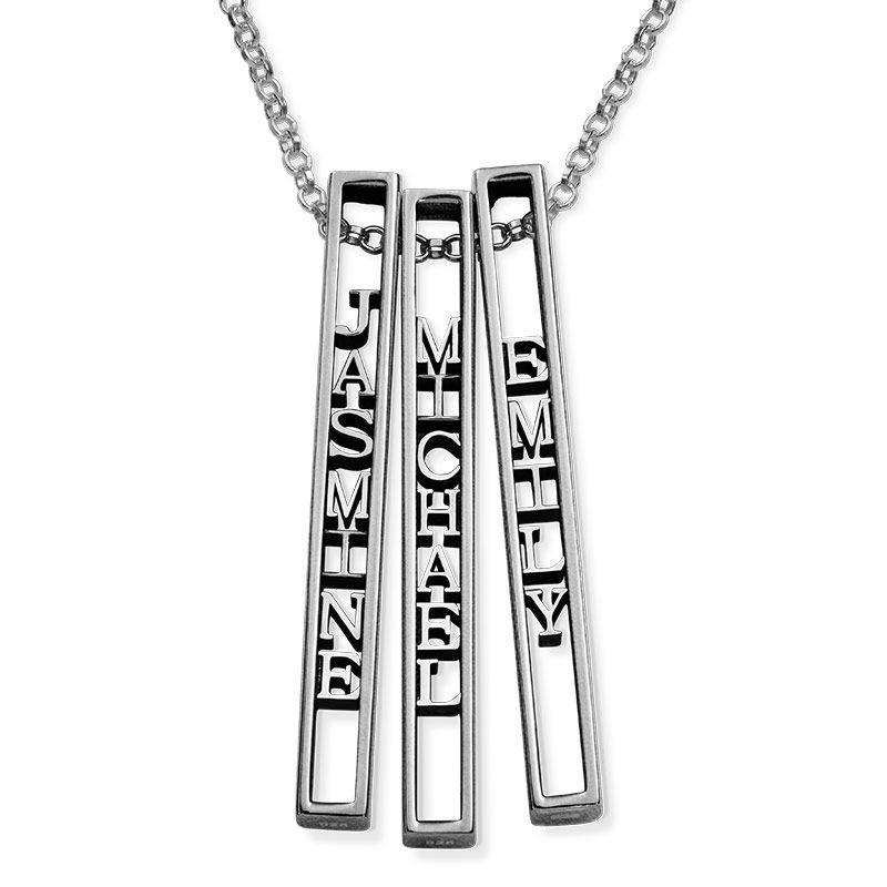 Personalized 3D Bar Necklace in Sterling Silver - 2