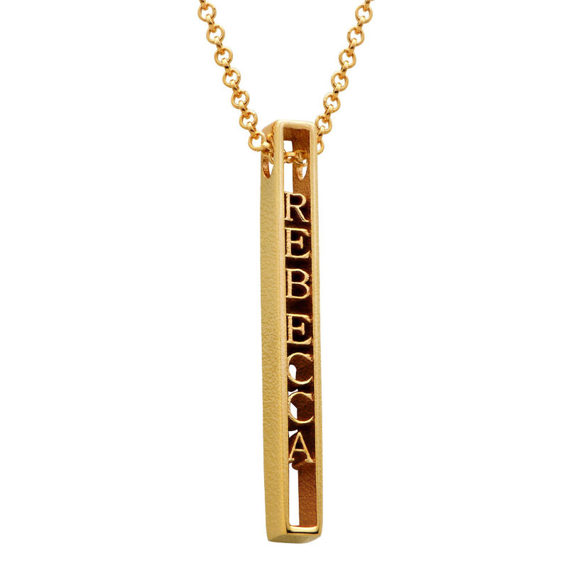 Personalized 3D Bar Necklace with 18K Gold Plating