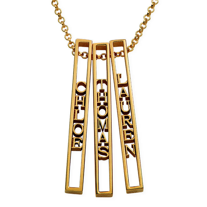 Personalized 3D Bar Necklace with 18K Gold Plating - 2