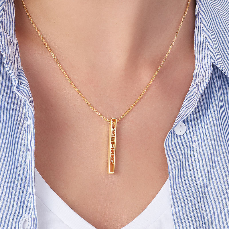 Personalized 3D Bar Necklace with 18K Gold Plating - 4
