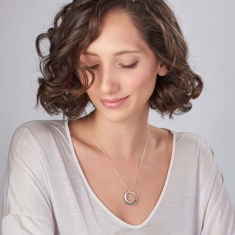 Personalized 3D Circle Necklace in Sterling Silver - 2