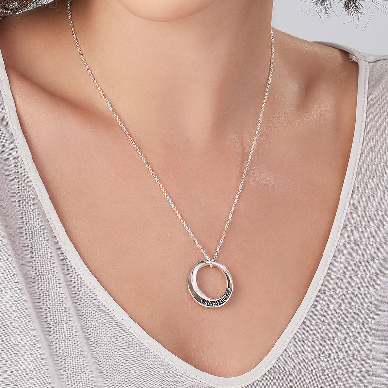 Personalized 3D Circle Necklace in Sterling Silver - 3