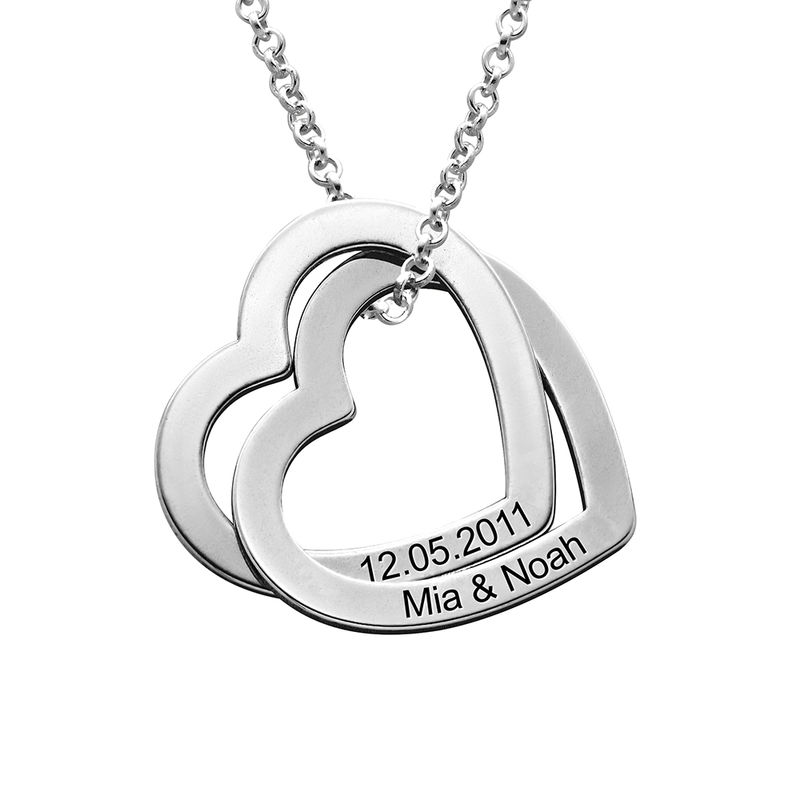 Interlocking Hearts Necklace in Sterling Silver