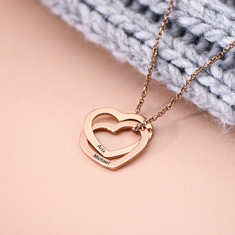 Interlocking Hearts Necklace with 18K Rose Gold Plating - 1
