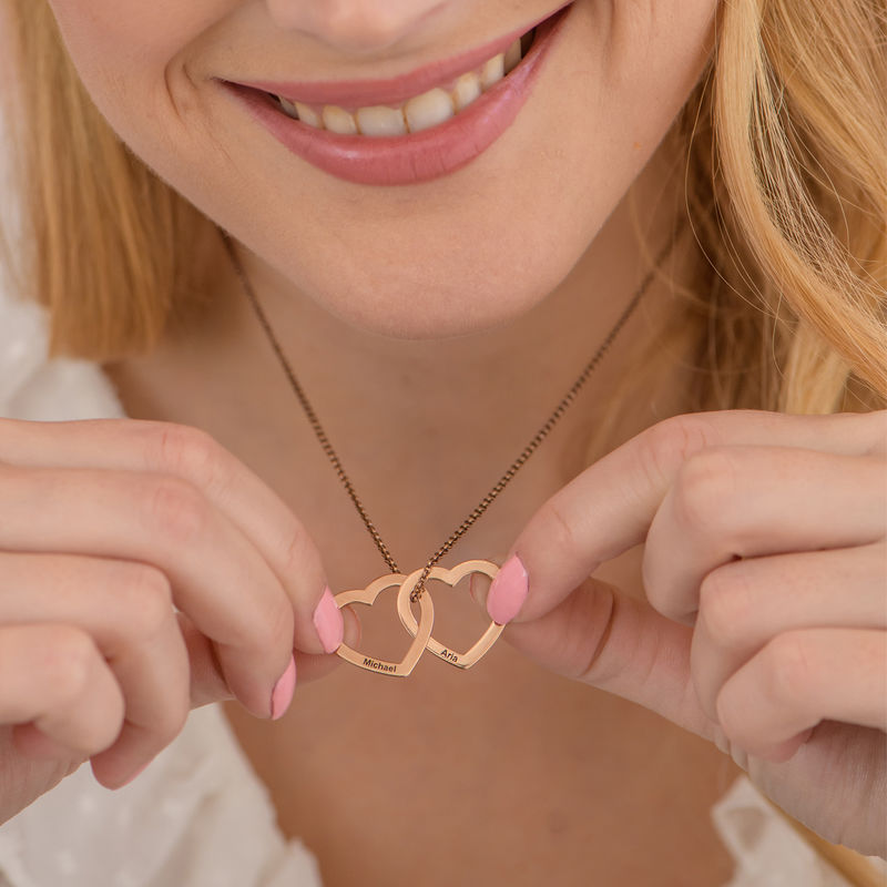 Interlocking Hearts Necklace with 18K Rose Gold Plating - 3