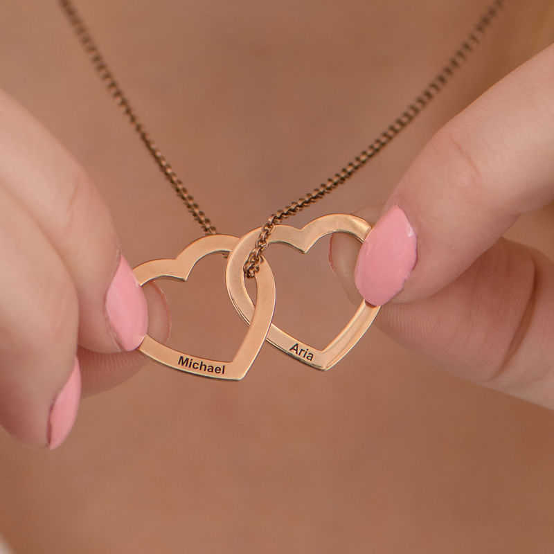 Interlocking Hearts Necklace with 18K Rose Gold Plating - 4