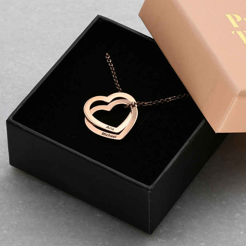 Interlocking Hearts Necklace with 18K Rose Gold Plating - 5
