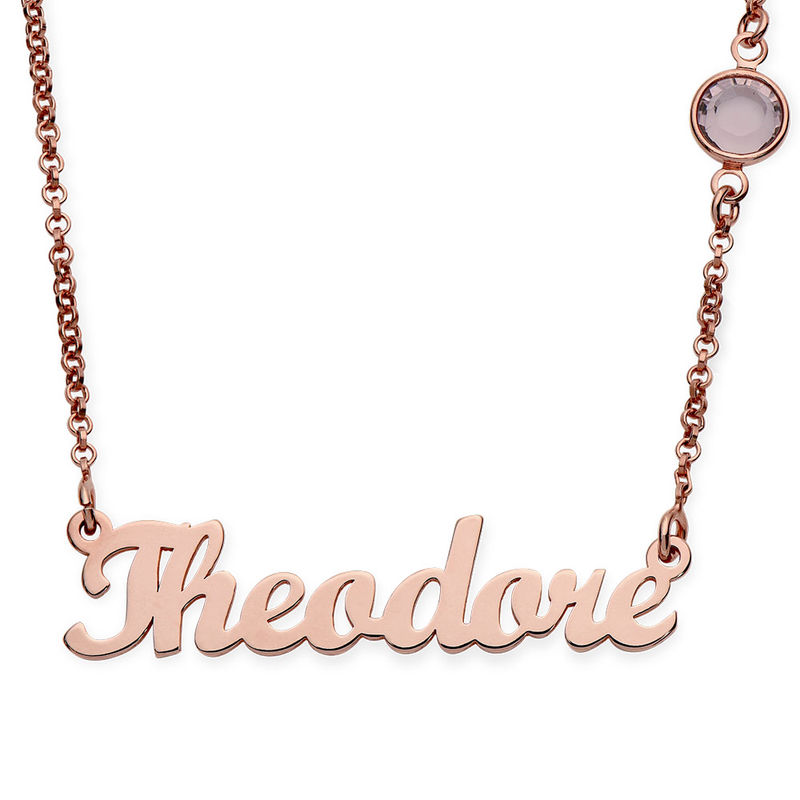 Name Necklace in Rose Gold Plating with One Birthstone