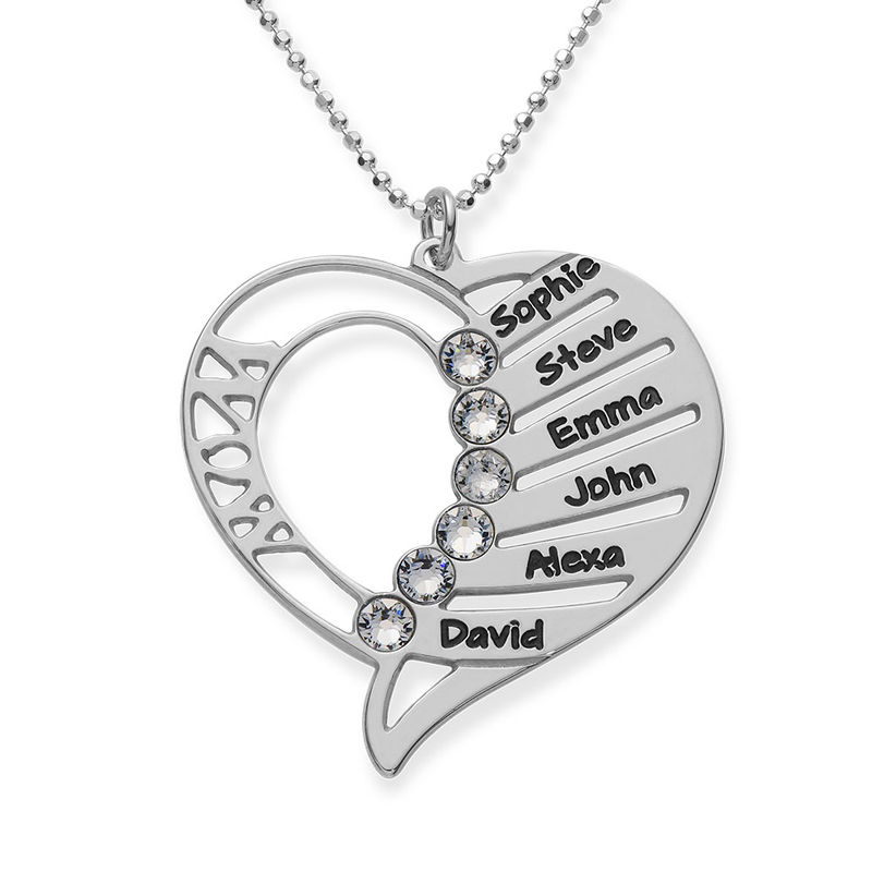 Engraved Mom Necklace with Clear Crystal
