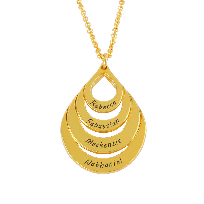 Engraved Family Necklace - Four Drops in Gold Plating