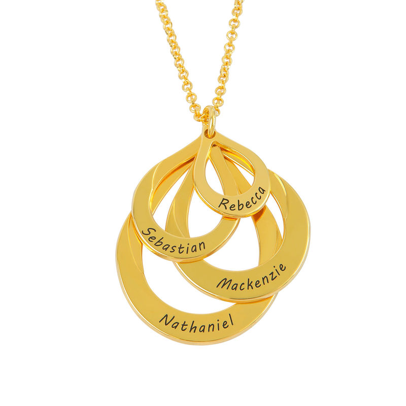Engraved Family Necklace - Four Drops in Gold Plating - 1