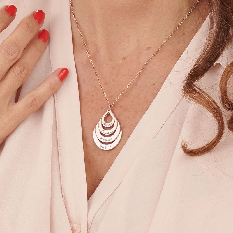 Engraved Family Necklace - Four Drops in Rose Gold Plating - 3
