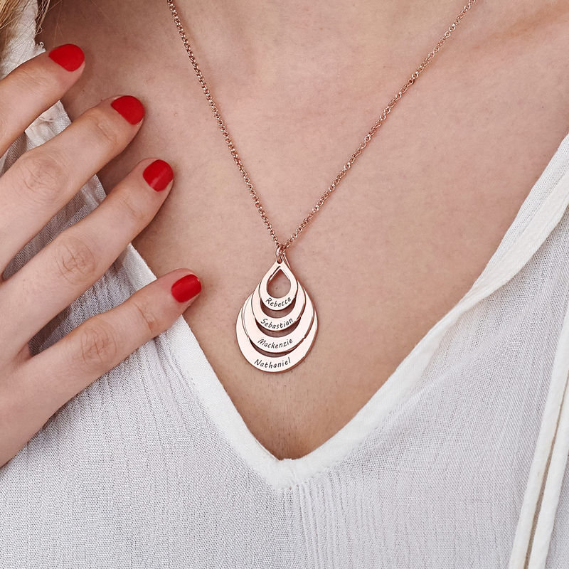 Engraved Family Necklace - Four Drops in Rose Gold Plating - 5