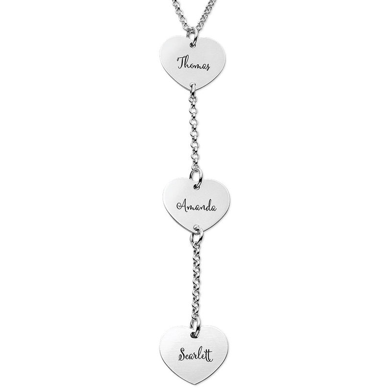 Personalized Y Necklace in Sterling Silver with Heart Shaped Pendants