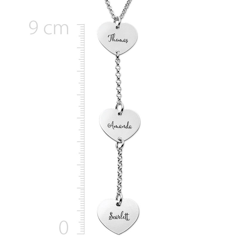 Personalized Y Necklace in Sterling Silver with Heart Shaped Pendants - 1