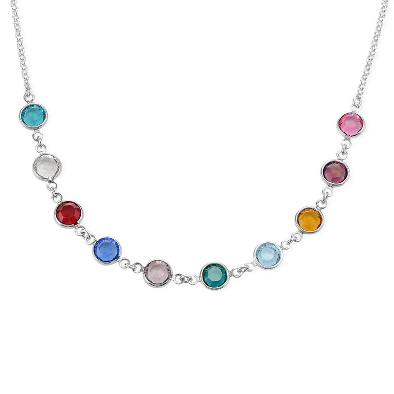 Adjustable Mothers Birthstone Necklace in Sterling Silver