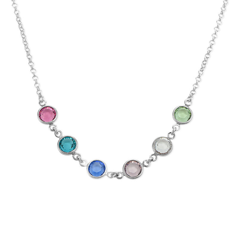 Adjustable Mothers Birthstone Necklace in Sterling Silver - 1