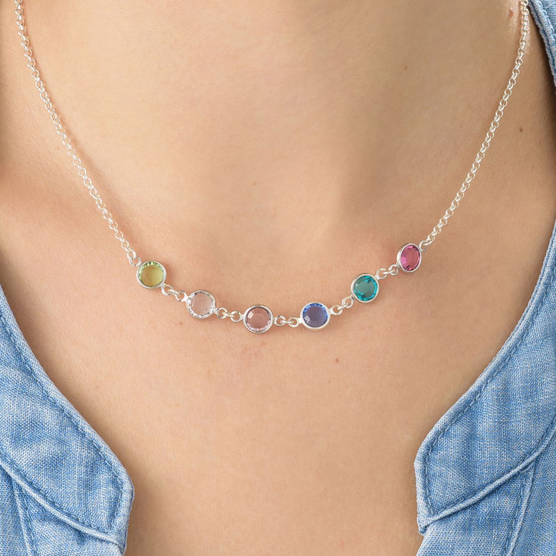 Adjustable Mothers Birthstone Necklace in Sterling Silver - 3