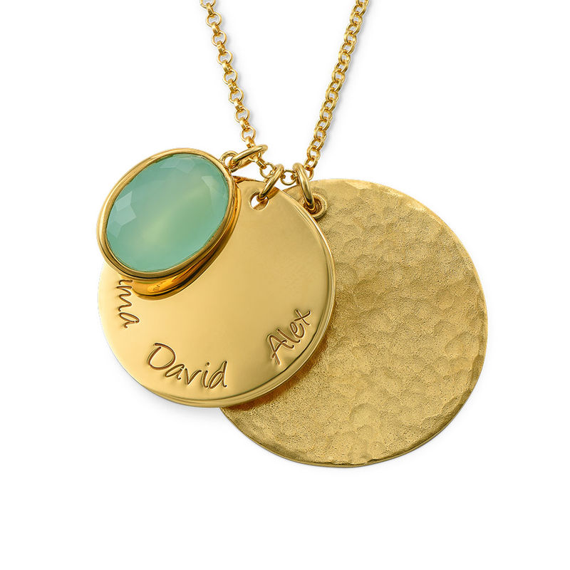 Disc Necklace with Hammered Finish and Colored Stone - 1