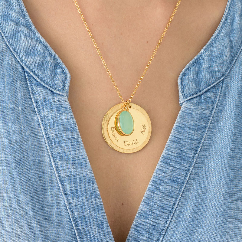Disc Necklace with Hammered Finish and Colored Stone - 3