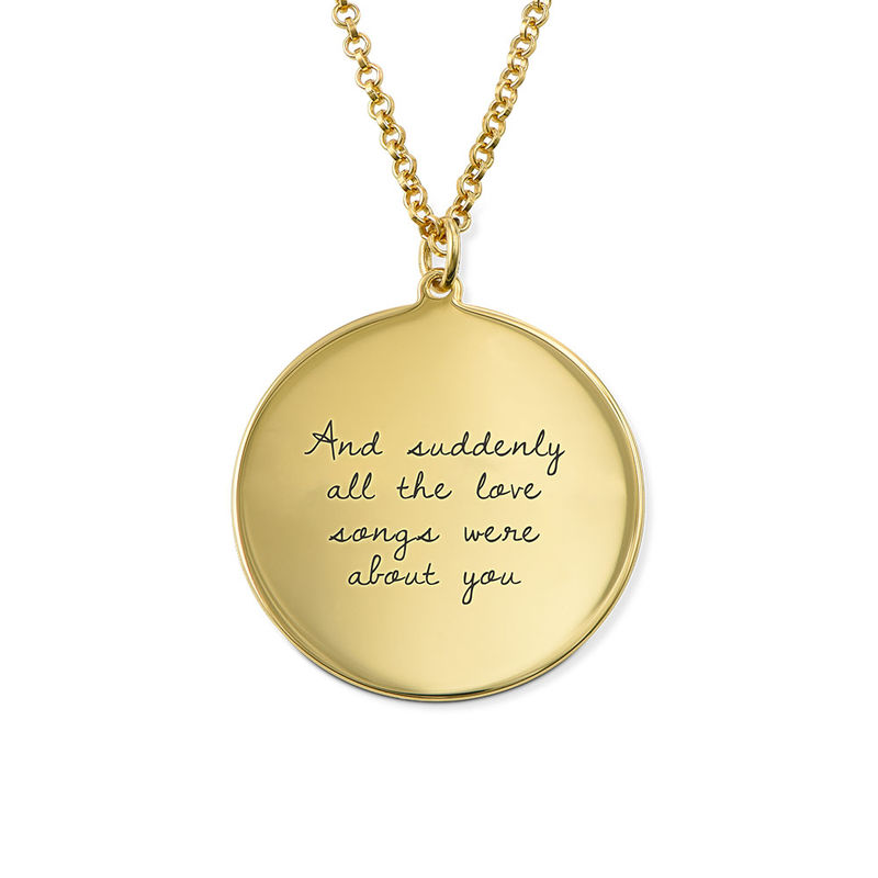 Handwritten Style Necklace in Sterling Silver with Gold Plating