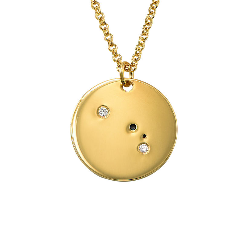 Aries Constellation Necklace with Diamonds in Gold Plating