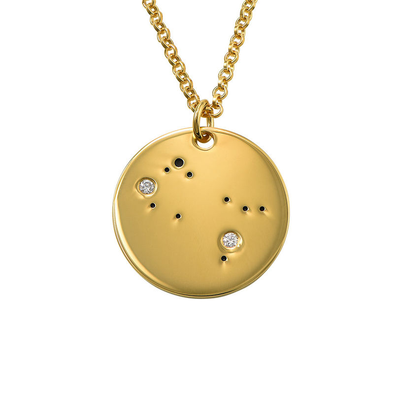 Gemini Constellation Necklace with Diamonds in Gold Plating