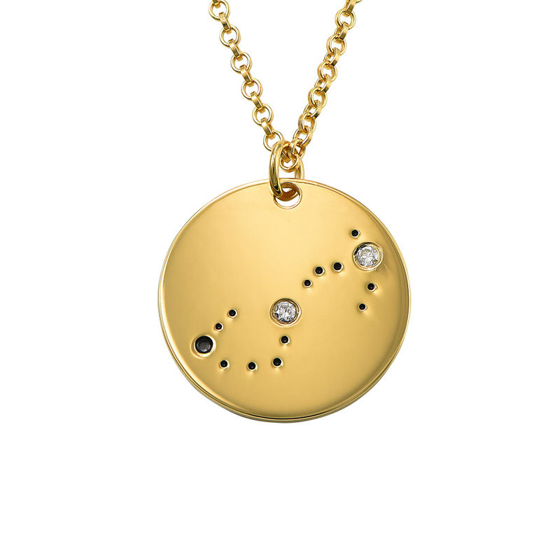 Scorpio Constellation Necklace with Diamonds in Gold Plating