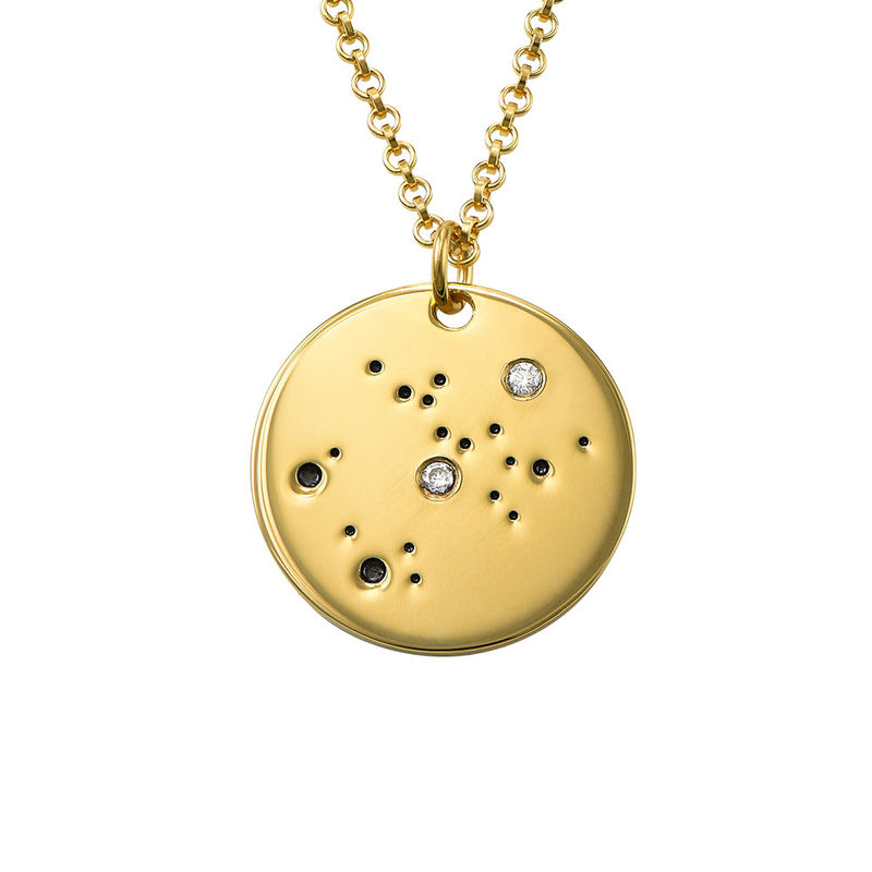 Sagittarius Constellation Necklace with Diamonds in Gold Plating