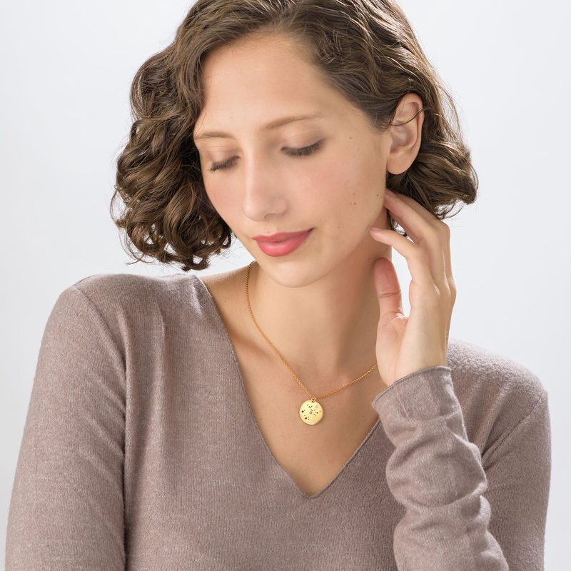 Sagittarius Constellation Necklace with Diamonds in Gold Plating - 1