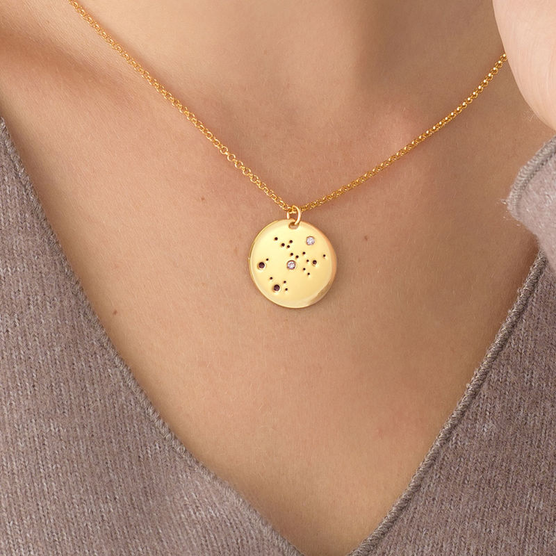 Sagittarius Constellation Necklace with Diamonds in Gold Plating - 2